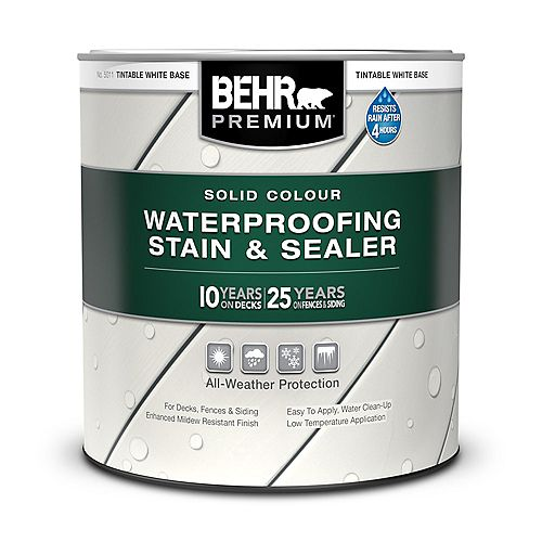 Solid Colour Waterproofing Stain & Sealer - Tintable White No. 5011, 946mL
