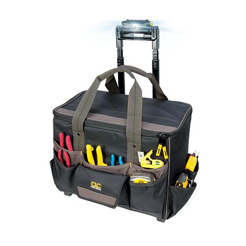 18-inch x 11.5-inch x 17-inch 17-Pocket Rolling Tool Bag with Work Light
