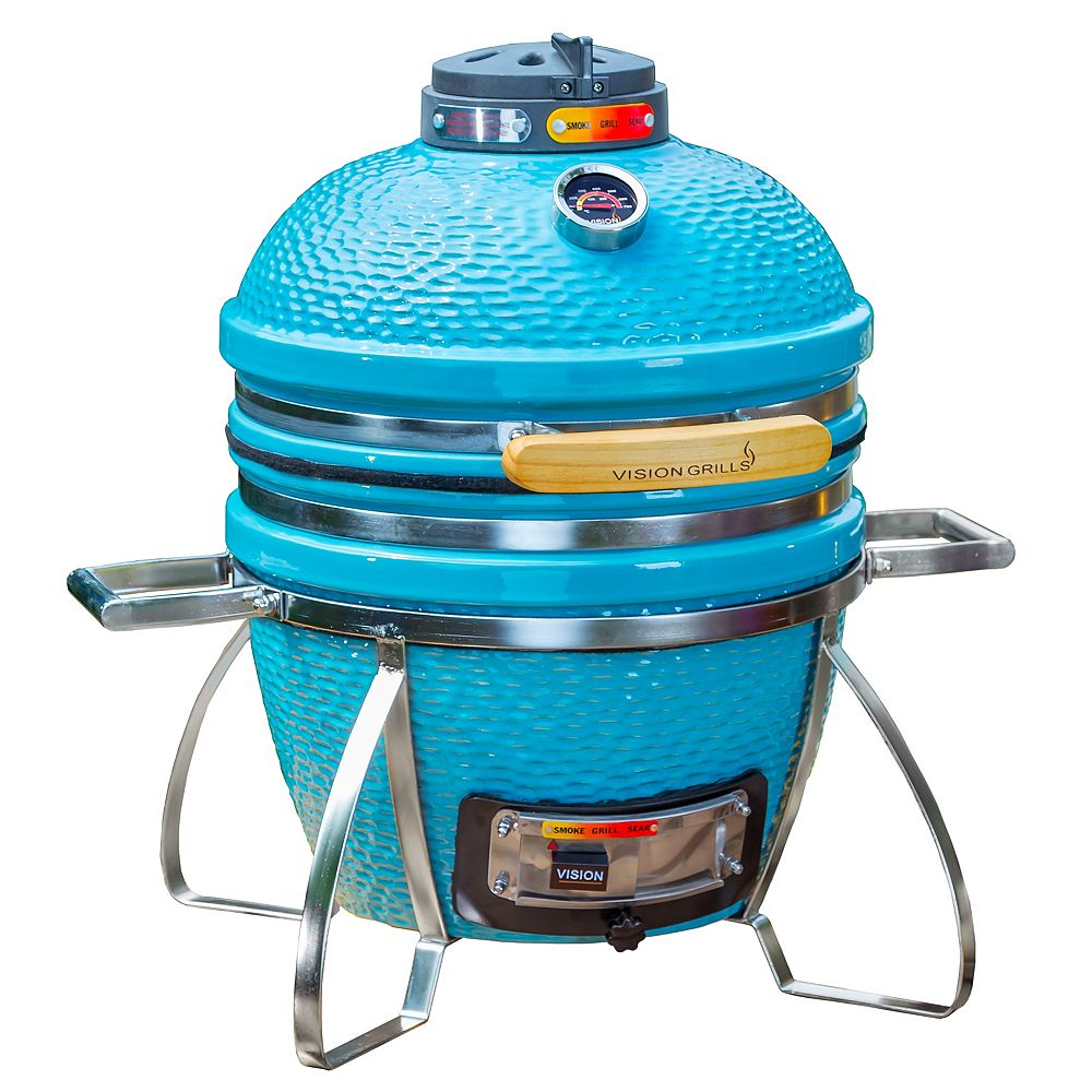 Vision Grills Cadet Kamado Charcoal Grill à Sarcelle