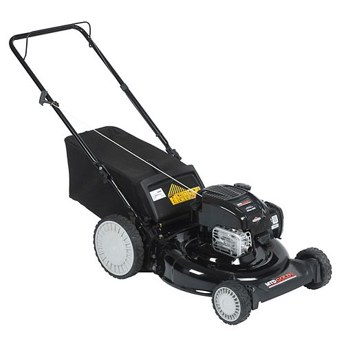 21-inch Gas Powered Push Lawn Mower with Rear Bag and Mulch