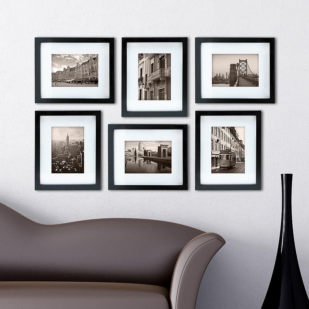 Kiera Grace Gallery Paquet de 6- 8 po x 10 po emmêlés pour 5 po x 7 po cadre- Noir