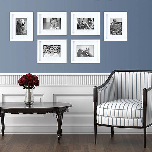 Gallery Paquet de 6- 8 po x 10 po emmêlés pour 5 po x 7 po cadre- Blanc