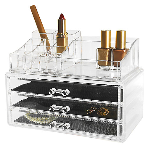 Set of 2- Cosmetic and jewellery Organizer, 14 Compartments & 3 Drawers