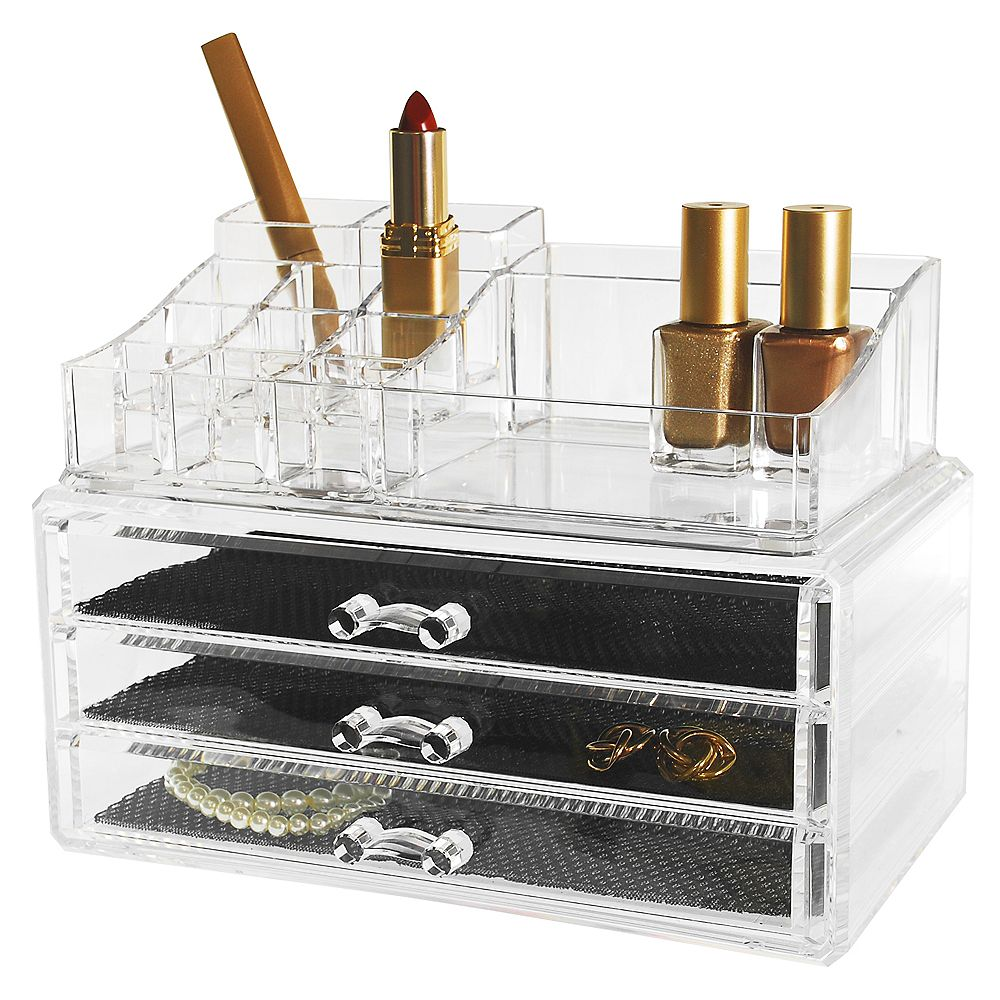 Kiera Grace Set of 2- Cosmetic and jewellery Organizer, 14 Compartments & 3 Drawers