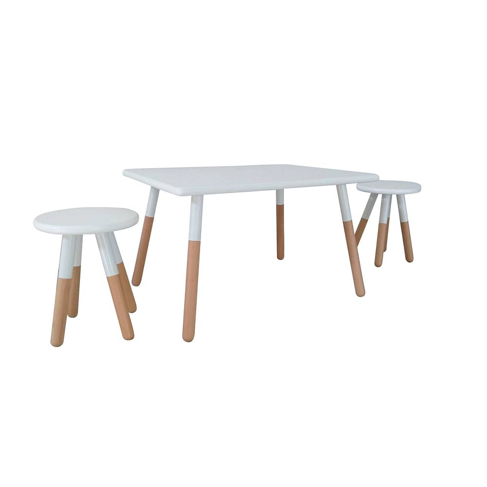 Kids Space 18.86-inch x 23.58-inch x 23.58-inch Dipped Painted Wood Square Table and Stool Set for Kids with Steel Legs in White