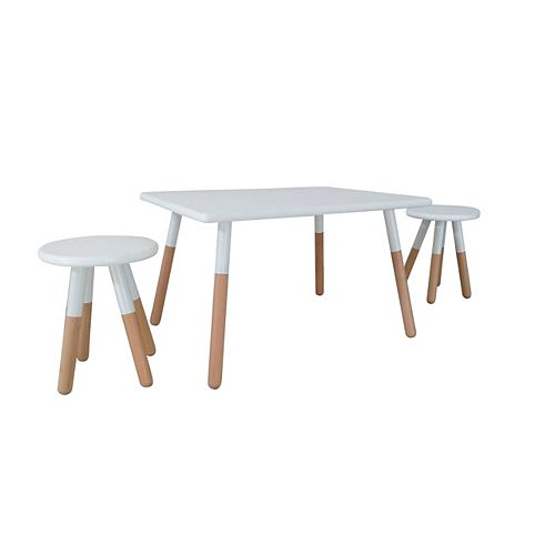 Ensemble table et tabouret trempés en blanc