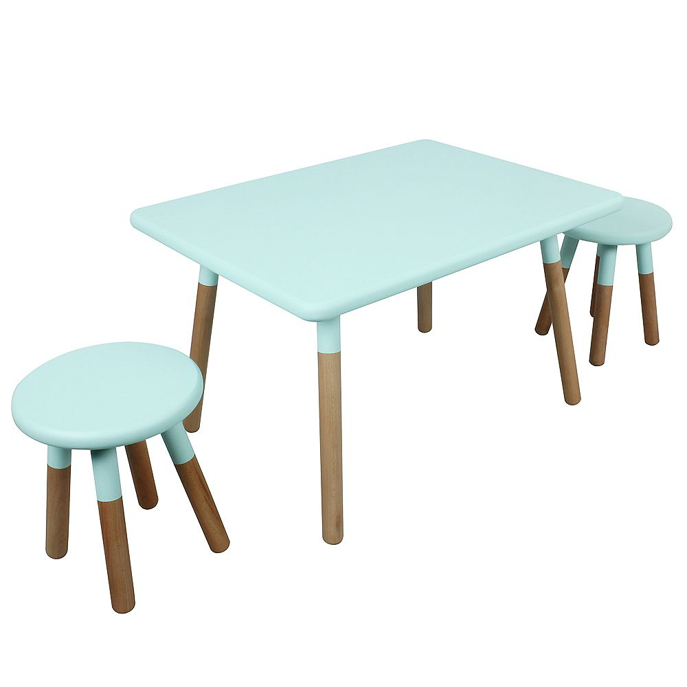 Kids Space 18.86-inch x 23.58-inch x 23.58-inch Dipped Painted Wood Square Table and Stool Set for Kids with Steel Legs in Mint