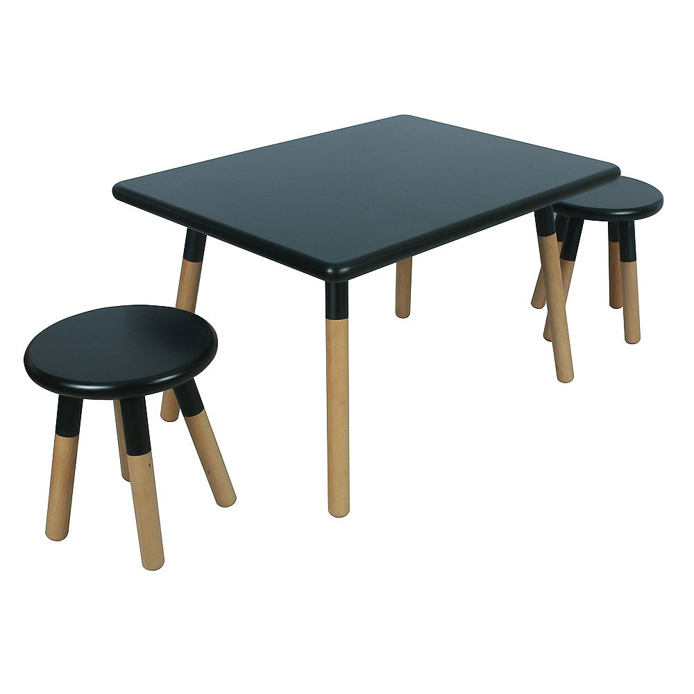 Kids Space 18.86-inch x 23.58-inch x 23.58-inch Dipped Painted Wood Square Table and Stool Set for Kids with Steel Legs in Black