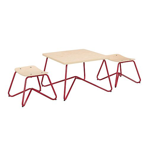 Kellan Mixed Material Kids' Table and Stool Set in Red