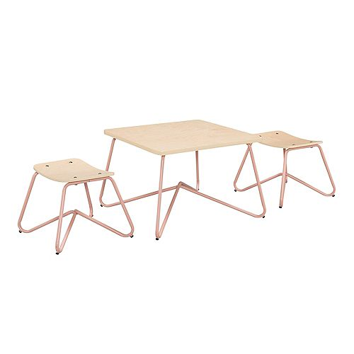 Kellan Mixed Material Kids' Table and Stool Set in Dusty Pink