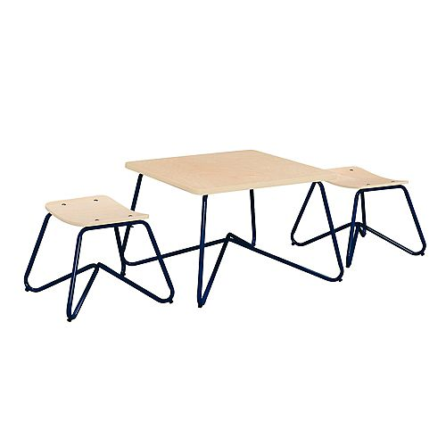 Kellan Mixed Material Kids' Table and Stool Set in Navy