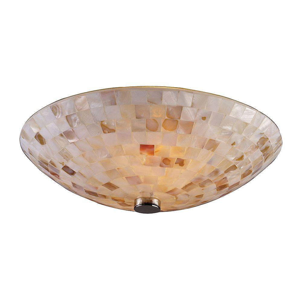 Titan Lighting Capri 2-Light Satin Nickel Ceiling Semi-Flush Mount Light