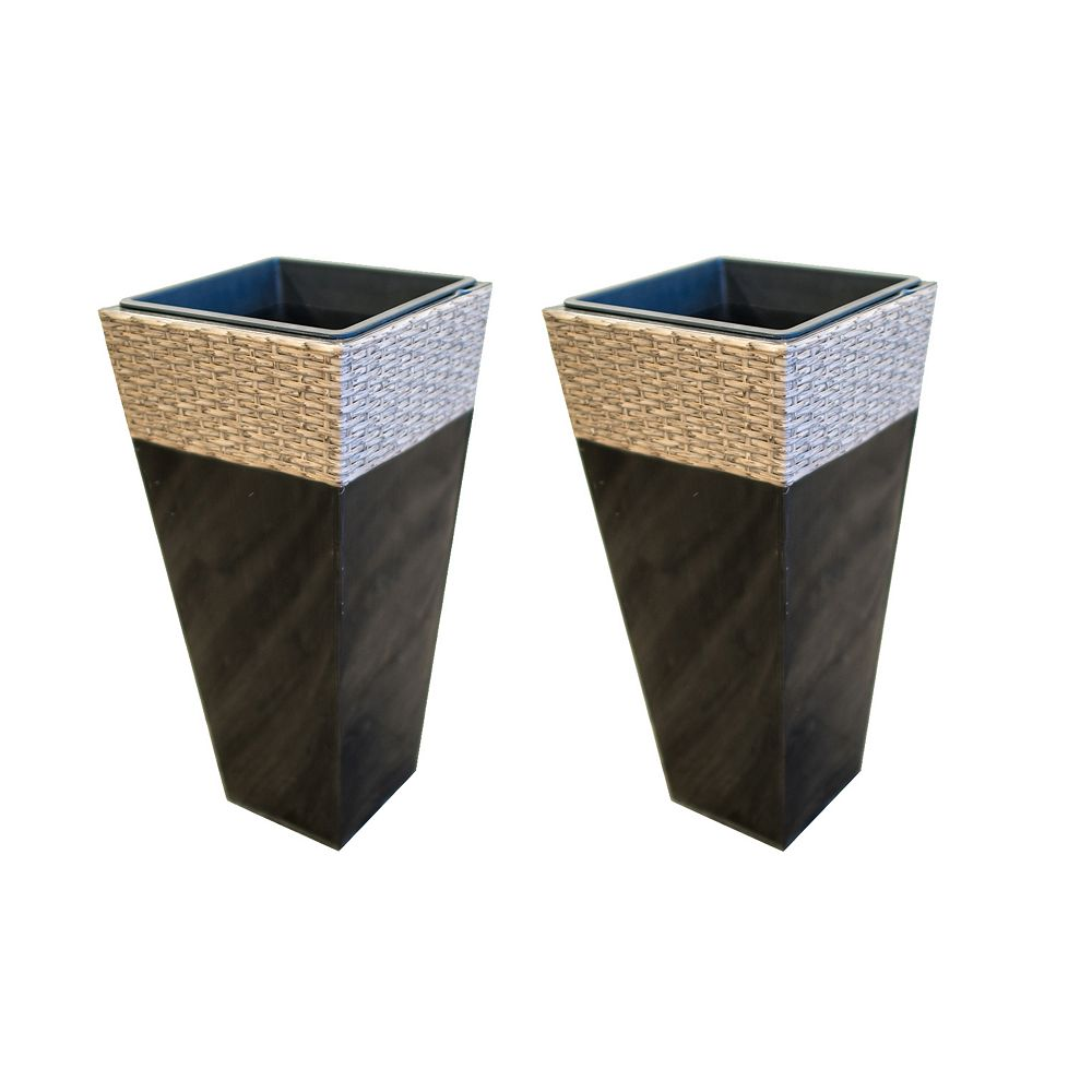 Grapevine Square Zinc and Wicker Planter in Black with Tan Top (2-Pack)