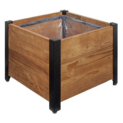Grapevine Urban Garden Planter, Square Recycled Wood and Metal