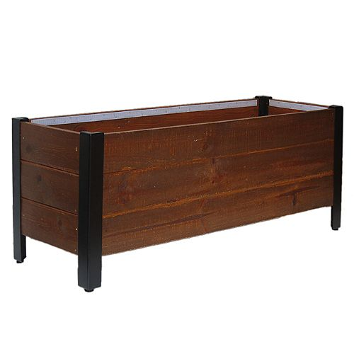 Urban Garden Planter, Rectangle Recycled Wood and Metal