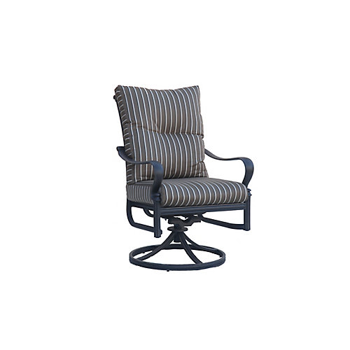Panacea High Back Swivel Rocker Patio Dining Chair with Cushion