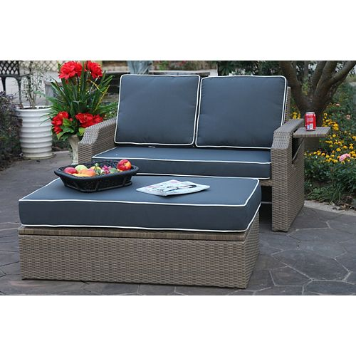 Santorini Wicker Patio Loveseat with Ottoman