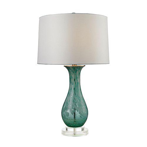 Lampe de table en verre torsadé au fini aigue-marine