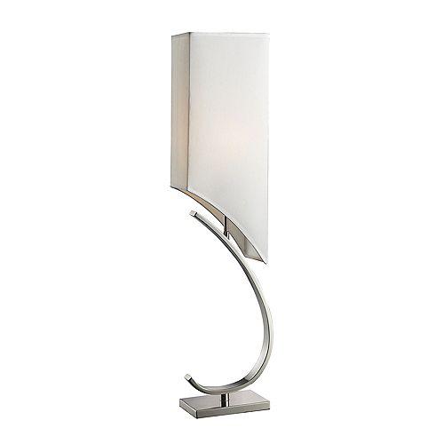 Lampe de table Appleton au fini nickel poli avec abat-jour au fini blanc pur