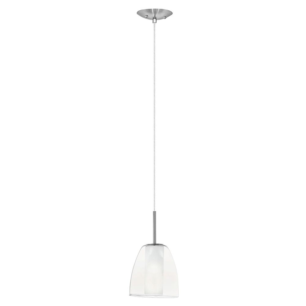 Eglo Olbia Pendant Light 1L, Matte Nickel Finish with Clear & Frosted Glass