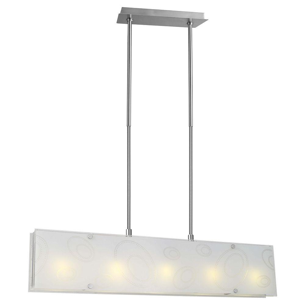Eglo Indo 1 Luminaire Suspendu 5L, Fini Nickel Mat avec Verre Blanc en Motif