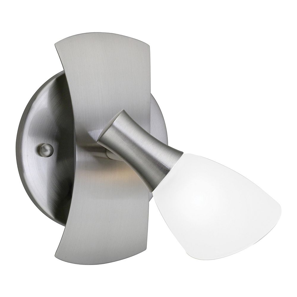 Eglo Ona 1 Wall Light 1L, Matte Nickel Finish with White Glass