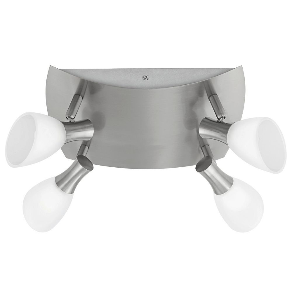 Eglo Ona 1 Ceiling Light 4L, Matte Nickel Finish with White Glass