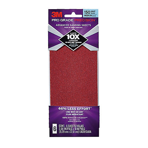 3.7X9 Sanding Sheets 150 GRIT, (6-Pack)