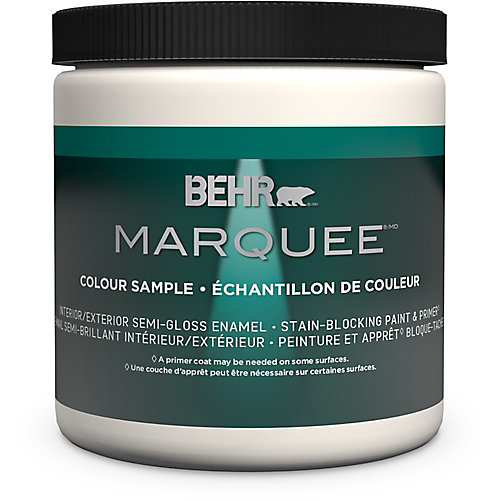 Marquee 237mL Ultra Pure White Semi-Gloss Interior Paint Sample with Primer