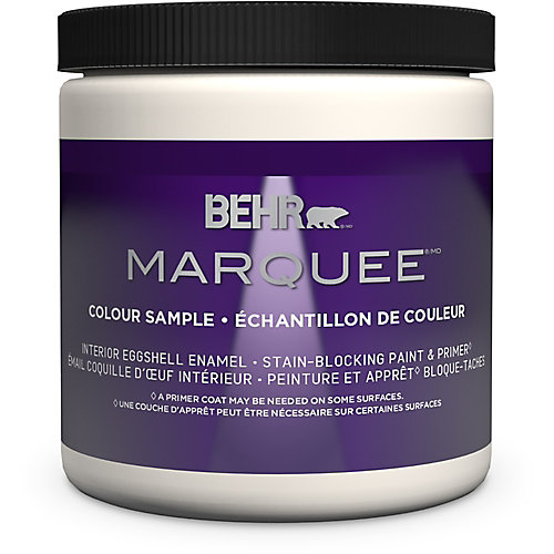 Marquee 237mL Ultra Pure White Eggshell Interior Paint Sample with Primer