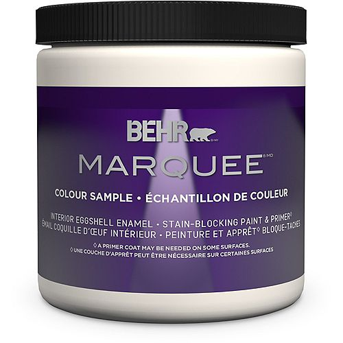 Behr Marquee Marquee 237mL Ultra Pure White Eggshell Interior Paint Sample with Primer