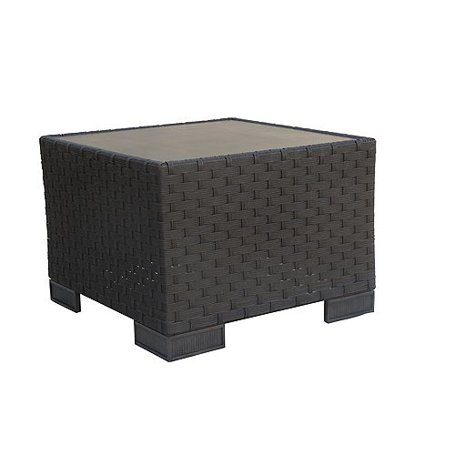ONSIGHT Hestia Wicker Patio Side Table with GRC Top