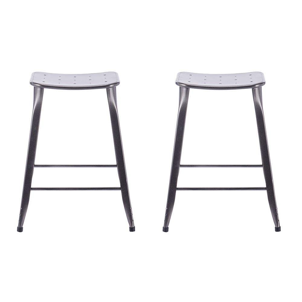 Reservation Seating Lennon Lennon 24-inch Saddle Backless Counter Stool in Charcoal (Set of 2)
