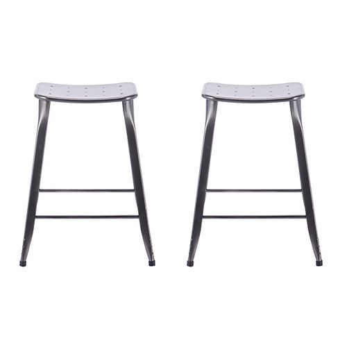 Lennon Lennon 24-inch Saddle Backless Counter Stool in Charcoal (Set of 2)