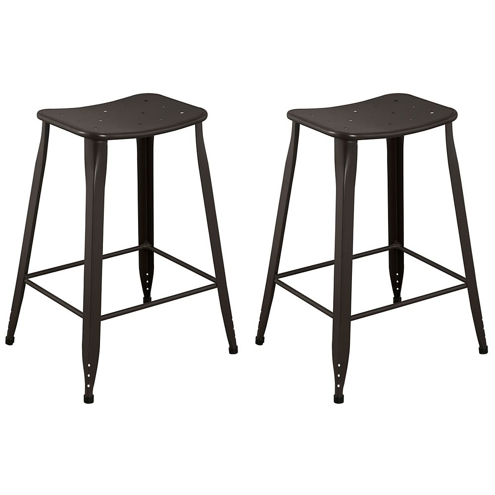 Reservation Seating Lennon Metal Brown Industrial Backless Armless Bar Stool with Brown Metal Seat