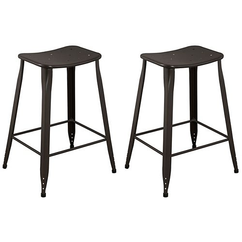Lennon Metal Brown Industrial Backless Armless Bar Stool with Brown Metal Seat
