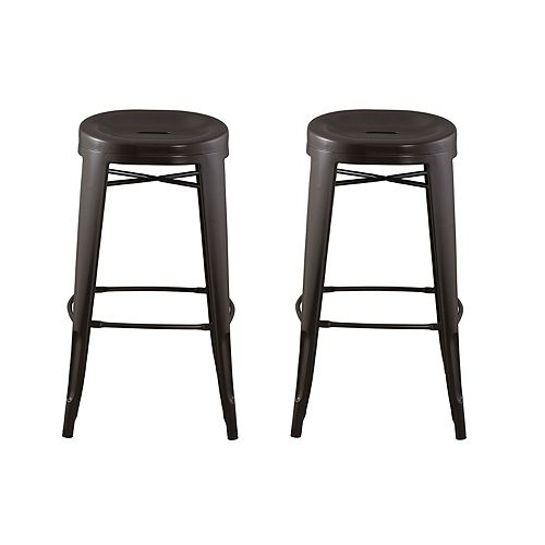 Quinn Metal Brown Industrial Backless Armless Bar Stool with Brown Metal Seat