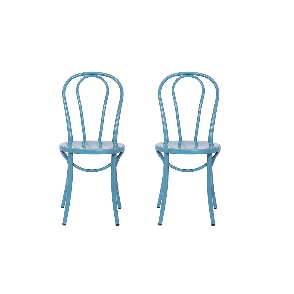Reservation Seating Elle Metal Blue Armless Bar Stool with Blue Metal Seat