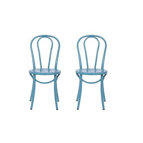 Elle Metal Blue Armless Bar Stool with Blue Metal Seat