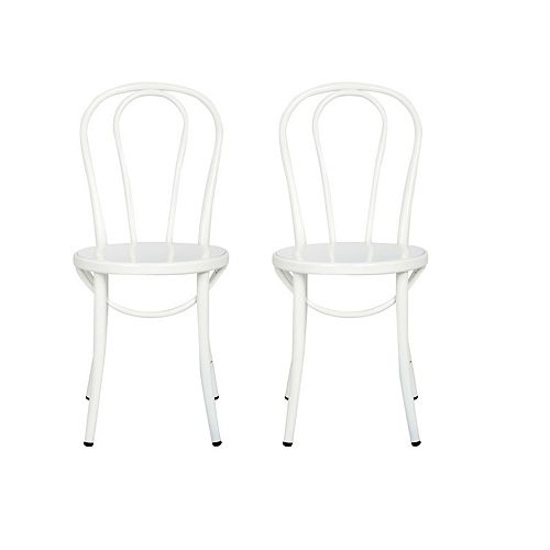 Elle Metal White Armless Bar Stool with White Metal Seat