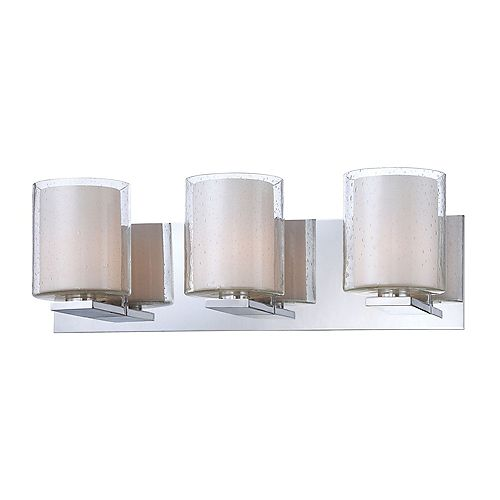Combo 3 Light Vanity In Chrome And Clear Stromboli Outer Glass With White Opal Inner Glass