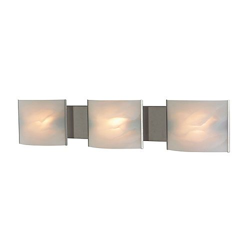 Pannelli 3 Light Vanity In Stainless Steel And Hand-Moulded White Alabaster Glass