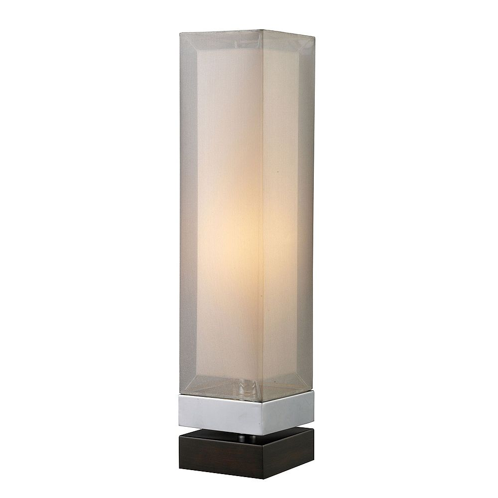 Titan Lighting Volant Table Lamp In Chrome And Painted Espresso Base With Double Framed Shade