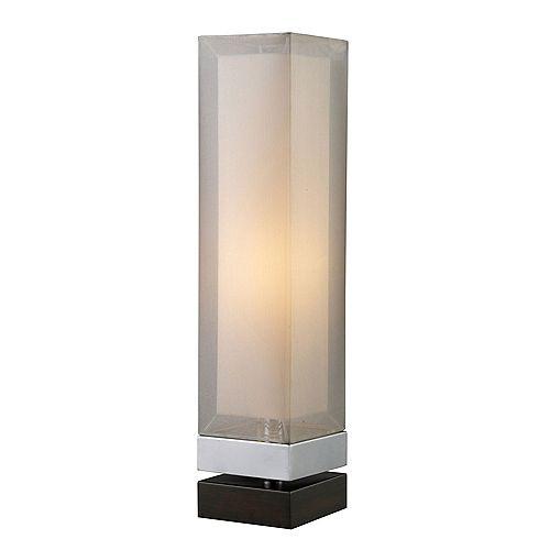 Volant Lampe de Table en Chrome avec base couleur de lEspresso  et abat-jour avec double châssis