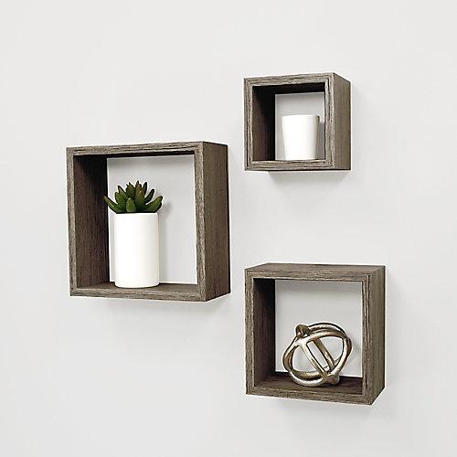 Jeu de trois étagères Cubbi fini bois flotté gris  5x5po, 7x7po, 9x9po (13x13, 17x17, 13x23 cm)