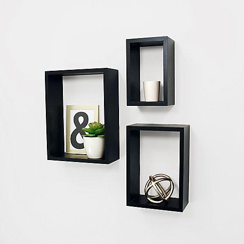 Ensemble de trois étagères murales Nesting  Noir- 5x8 po, 7x10 po x 9x12 po