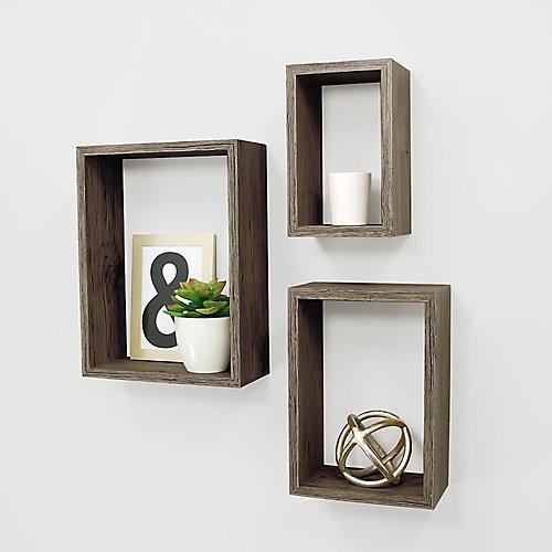 Ensemble de trois étagères murales Nesting fini bois flotté gris- 5x8 po, 7x10 po x 9x12 po