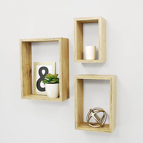 Ensemble de trois étagères murales Nesting fini bois naturel clair- 5x8 po, 7x10 po x 9x12 po