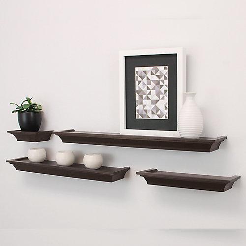 Ensemble de quatre étagères profilées, de longueur variable et de couleur blanc
