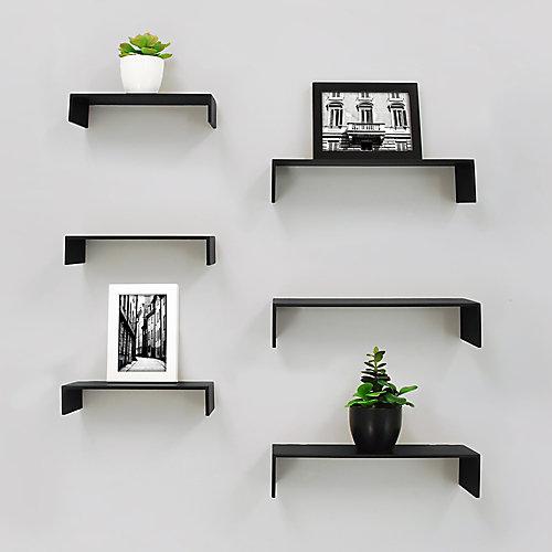 Extense paquet de 6 étagère murale - Noir